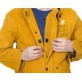 Skórzana kurtka spawalnicza z dwoiny bydlęcej z plecami z trudnopalnej bawełny