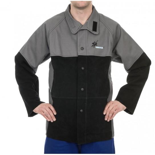 Kurtka spawalnicza, wysokiej odporności trudnopalna bawełna 520 gr./m2 ze wzmocnieniami z dwoinowej skóry wołowej Arc Knight®