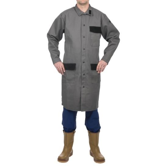 Fartuch laboratoryjny, wysokiej odporności trudnopalna bawełna 520 gr./m2 Arc Knight®
