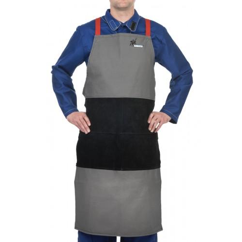 Fartuch spawalniczy, wysokiej odporności trudnopalna bawełna 520 gr./m2 ze wzmocnieniami z czarnej dwoiny bydlęcej Arc Knight®